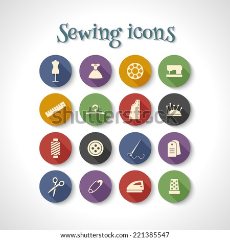 set of sewing flat icons with long shadow - stock vector