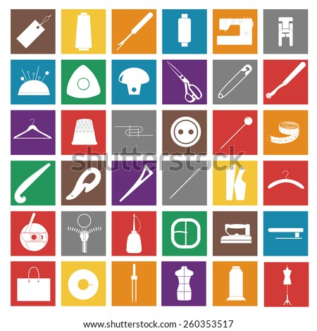 Set of sewing white  icons in a flat style. - stock vector