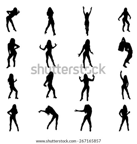 Set of sexy dancer womnen shapes silhouettes  - stock vector