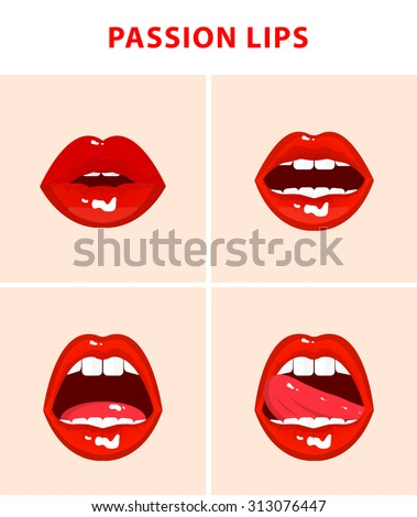 Set of 4 sexy open mouths, tongue hanging out, red erotic seductive lips, passion - stock vector