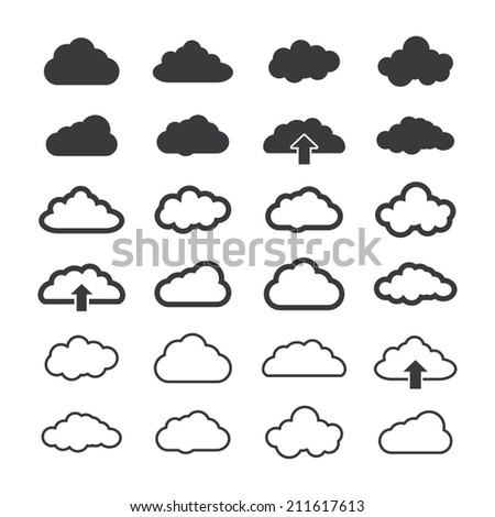 set of shape clouds. vector icon eps8 - stock vector