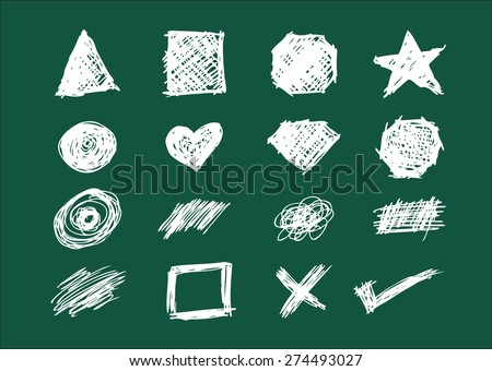 Set of Shapes, Icons and Scratches in Chalkboard style handsketch illustration. Editable EPS10  - stock vector