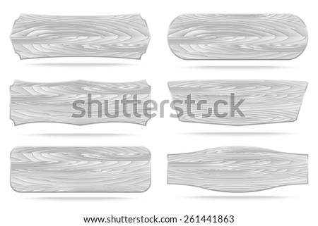Set of 6 shapes white wooden sign boards. Vector illustration - stock vector