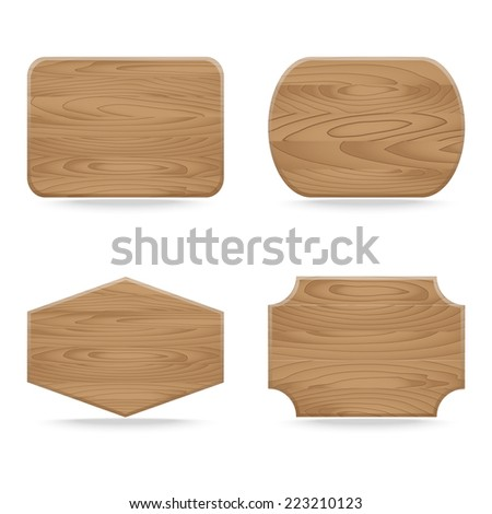 Set of shapes wooden sign boards. Vector illustration - stock vector