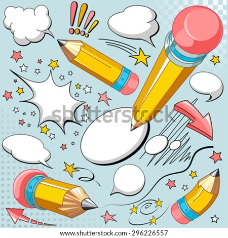 Set of sharpened yellow pencils, comics style speech bubbles - stock vector