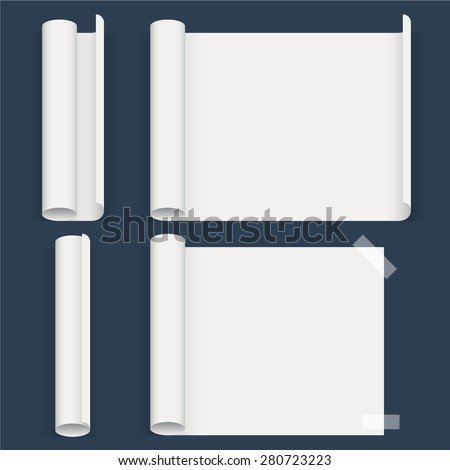 Set of sheets of a different form. Whatman paper. Vector - stock vector