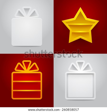 Set of shelves in shape of gift boxes and star. Vector illustration - stock vector