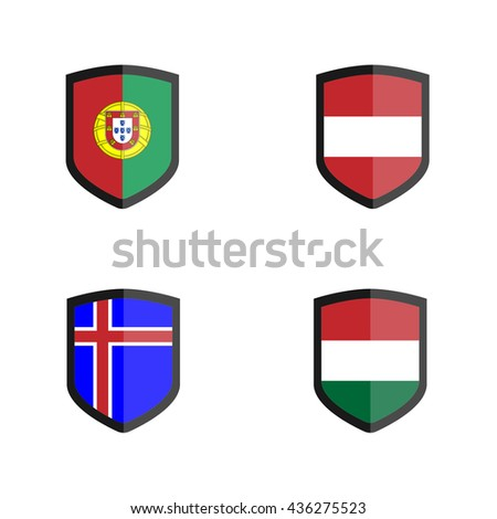 Set of Shield badge with Nation Flag, Austria, Hungary,Iceland, Portugal - stock vector