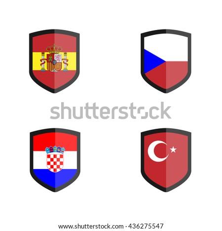 Set of Shield badge with Nation Flag, Czech, Croatia, Turkey, Spain - stock vector
