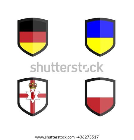 Set of Shield badge with Nation Flag, German, Northern Ireland, Poland, Ukraine - stock vector