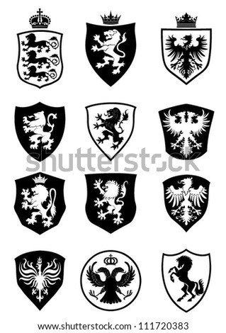 Set of shield heraldry - stock vector