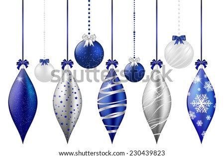 Set of shiny blue and silver christmas balls - isolated on white background. Vector illustration. - stock vector