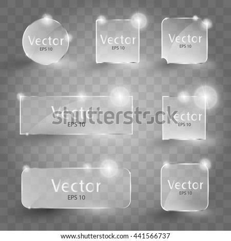 Set of shiny glass icon. Glowing glass panel on a dark background. Vector illustration. Glass frames. - stock vector