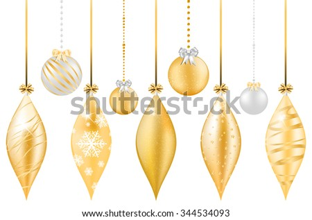 Set of shiny golden and silver christmas balls with bow - isolated on white background. Vector illustration. - stock vector