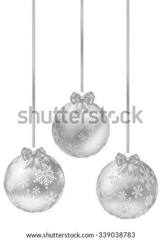 Set of shiny silver christmas balls with bow - isolated on white background. Vector illustration. - stock vector