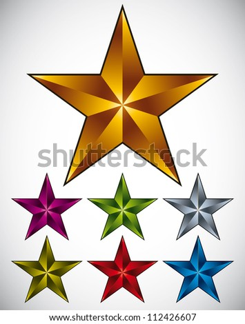 Set of shiny star icons in different colors. - stock vector