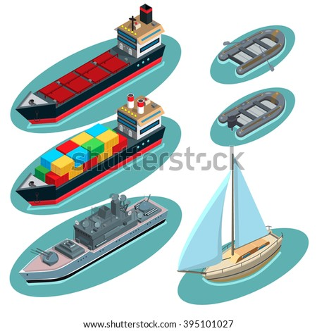 Set of ships: tanker, container ship, destroyer ship, sailboat, inflatable boat with oars, motor boat - stock vector