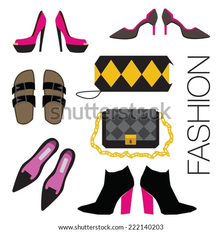 Set of shoes and bags. Vector. Eps 10. - stock vector