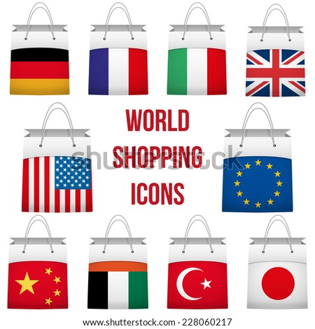 Set of Shopping bag with flag of different country. Retail business vector object. Service and sale illustration. Symbol isolated on white background. - stock vector