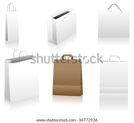 Set of shopping bags. You can place your designs on the surface. Easily editable package. Linear and radial gradients only. - stock vector
