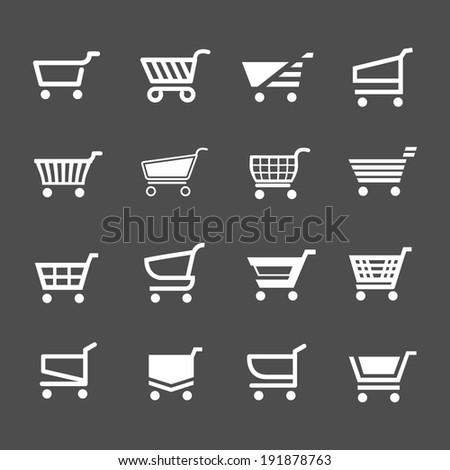 Set of shopping cart icons isolated on grey. Vector illustration - stock vector