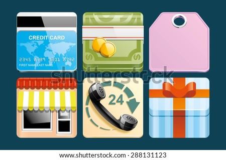 Set of Shopping icons - stock vector
