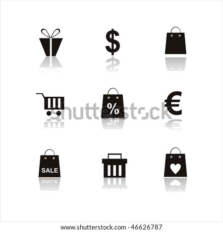 set of 9 shopping icons - stock vector