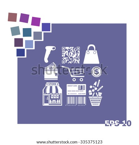 Set of shopping line vector icons - stock vector