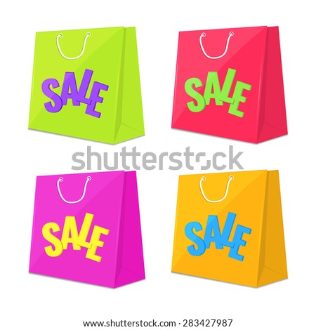 Set of shopping sale bag icons. Colorful Vector illustration. Discount concept. - stock vector