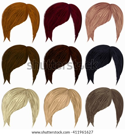 set of short  hairs  different colors . - stock vector
