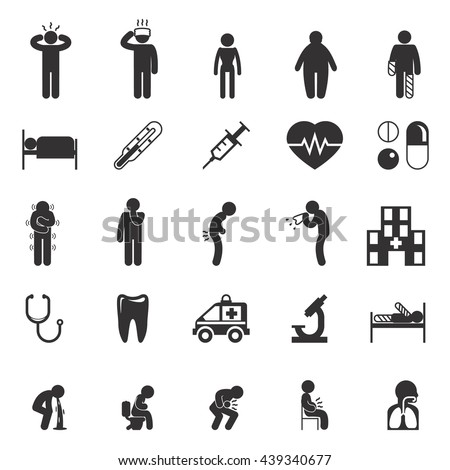Set of sick and ill people icons, pictograms. Vector illustration - stock vector