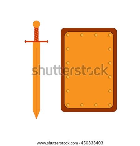 Set of sign rectangle shield and sword gold. Combat icon isolated on white background. Flat mark colorful. Symbol of a bronze elements. Logo for military and security. Stock vector illustration - stock vector