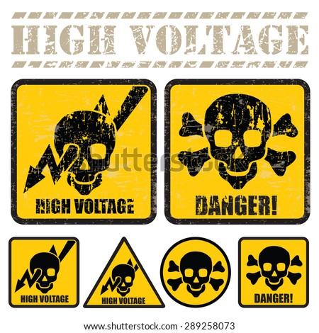 set of signs warning of the danger of high voltage - stock vector
