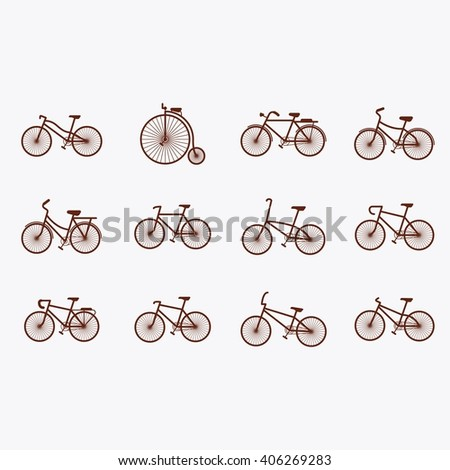 Set of silhouette bicycle. Flat and simple illustration or icon. - stock vector
