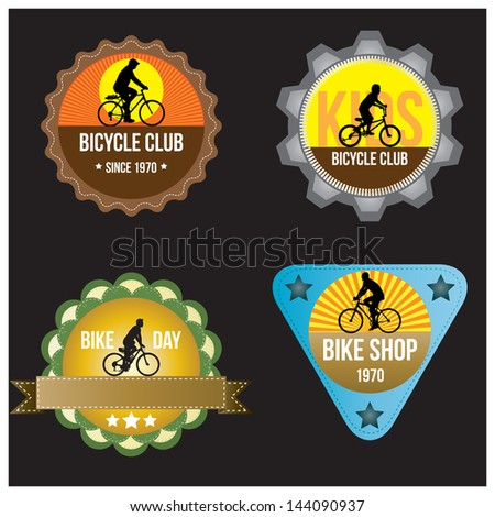 set of silhouette bicycle logo badge and banner vector format - stock vector