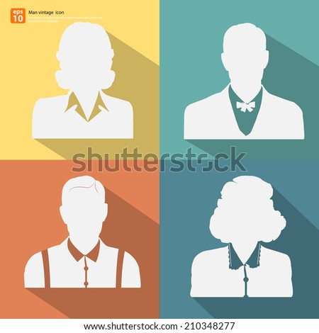 Set of Silhouette  man and woman retro style avatar profile pictures  with shadow on color vintage background  - stock vector