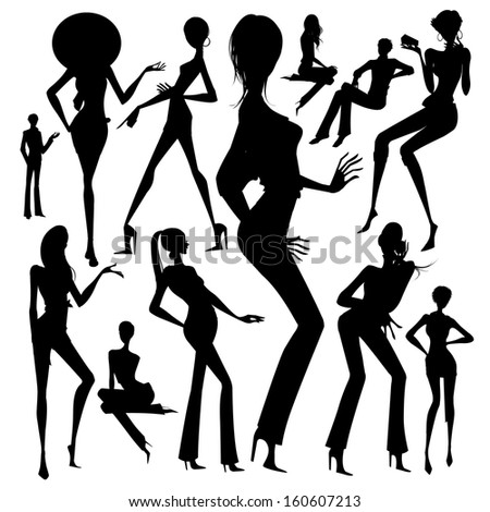 Set of silhouette of the woman isolated on white background  - stock vector