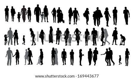 Set of Silhouette Walking People and Children. Vector Illustration. - stock vector