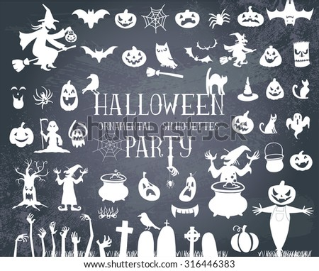 Set of silhouettes for Halloween party - stock vector