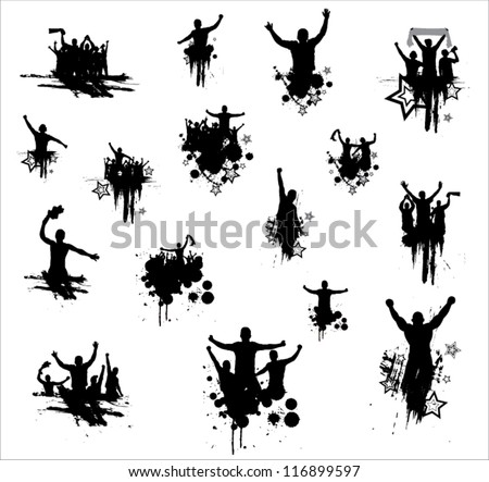 Set of silhouettes for sports championships and concerts - stock vector