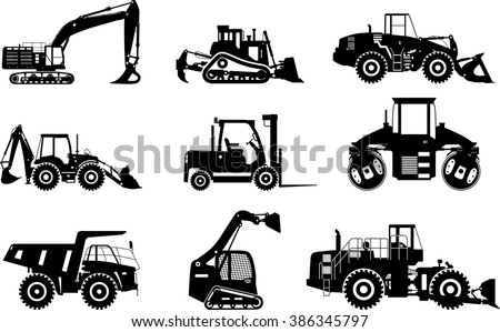 Set of silhouettes heavy construction and mining machines isolated on white background. Vector illustration - stock vector