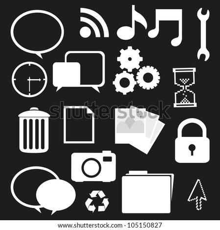 set of silhouettes icon, isolated on black background, vector illustration - stock vector