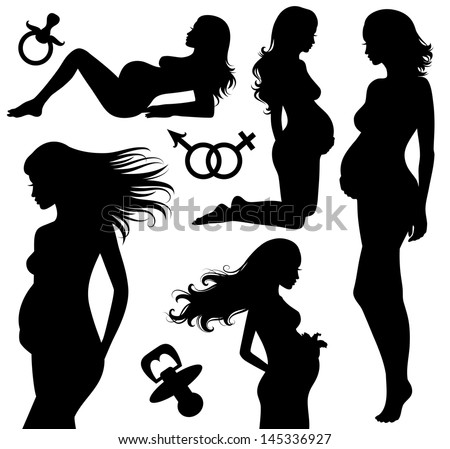 Set of silhouettes of a pregnant woman. - stock vector