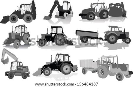 Set of 9 silhouettes of a tractors of road service - stock vector