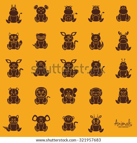 Set of silhouettes of beautiful animals on a colored background - stock vector