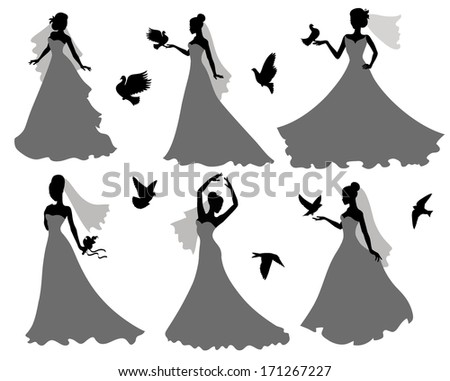Set of silhouettes of brides with birds. - stock vector