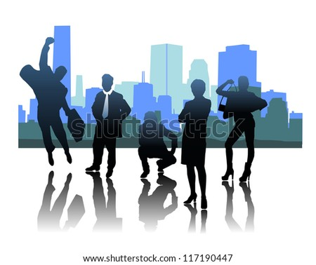 Set of silhouettes of businessmen - stock vector