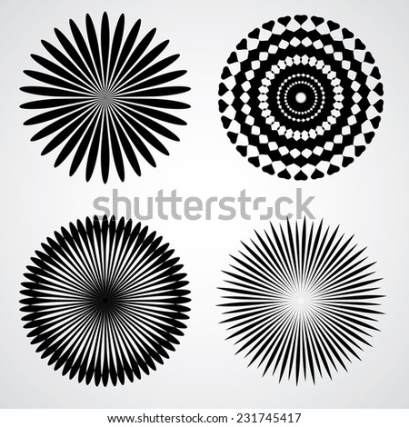 Set of Silhouettes of Circular Spirals isolated on White Background. Decorative Elements for Your Design. - stock vector
