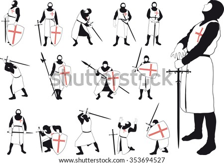 Set of silhouettes of Crusader with various weapons in different situations - stock vector