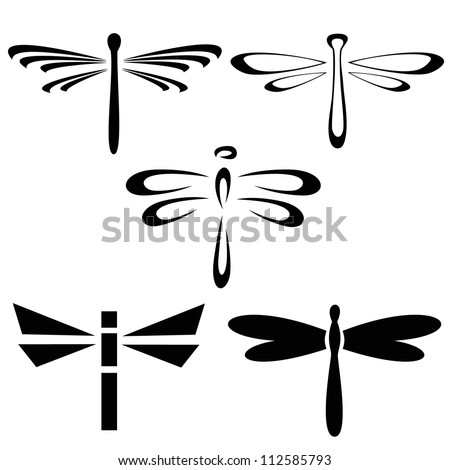 Set of silhouettes of dragonflies - stock vector